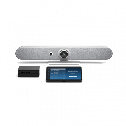 Logitech White Rally Bar Teams Room with TAP and Intel NUC - Medium Room